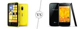 Nokia Lumia 620 vs LG Nexus 4