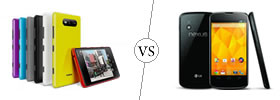 Nokia Lumia 820 vs Nexus 4