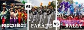 Procession vs Parade vs Rally