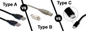 Type A vs Type B vs Type C USB Cable