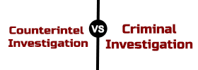 Counterintelligence Investigation vs Criminal Investigation