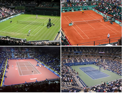 Differences between types of tennis court surfaces types for Surface terrain de tennis