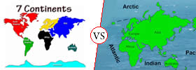 Difference between Continent and Ocean