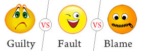 Difference between Guilty, Fault and Blame