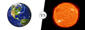 Difference between Earth and Sun