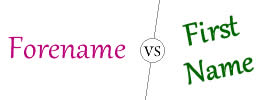 Difference between Forename and First Name