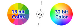 Difference between 16 bit and 32 bit Color