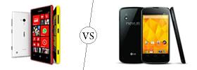 Nokia Lumia 720 vs LG Nexus 4