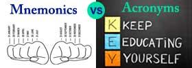 Mnemonics vs Acronyms